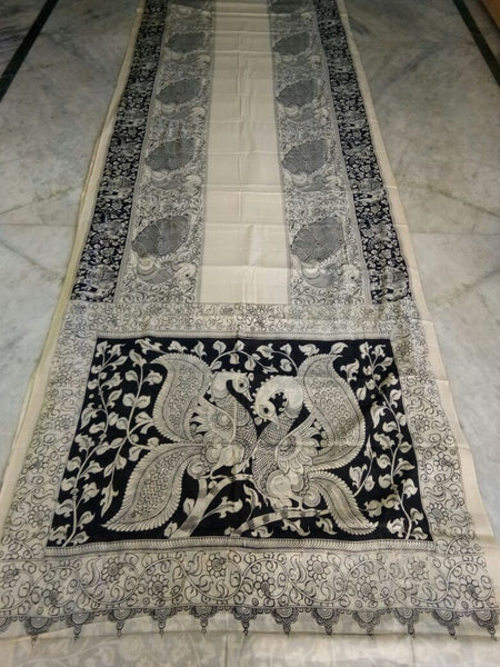 Black and White Kalamkari Printed Mal Cotton Saree-KPMCS-062