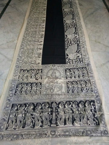 Black and White Kalamkari Printed Mal Cotton Saree-KPMCS-064