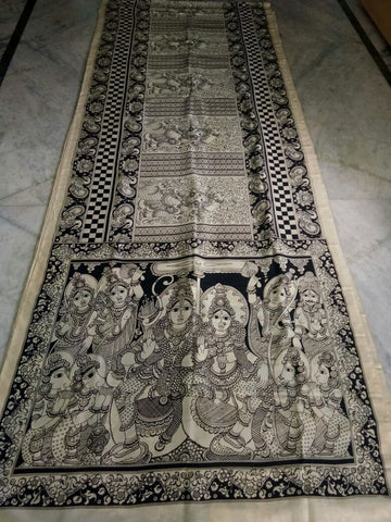 Black and White Kalamkari Printed Mal Cotton Saree-KPMCS-065