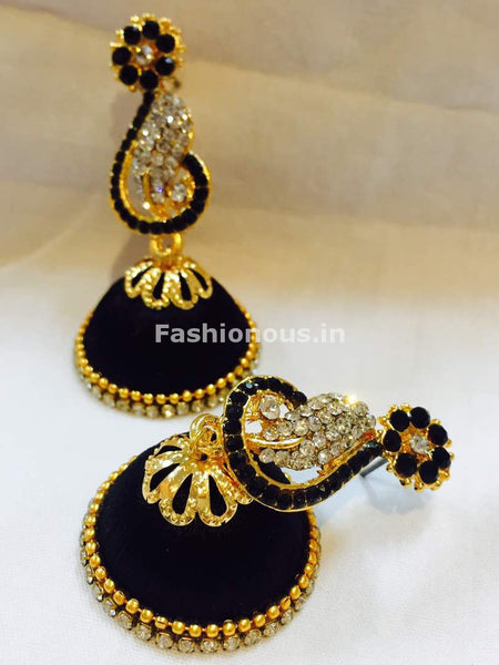 Black and White Stone Studded Peacock Neck Floral Silk Thread Jhumkas-STJH-050