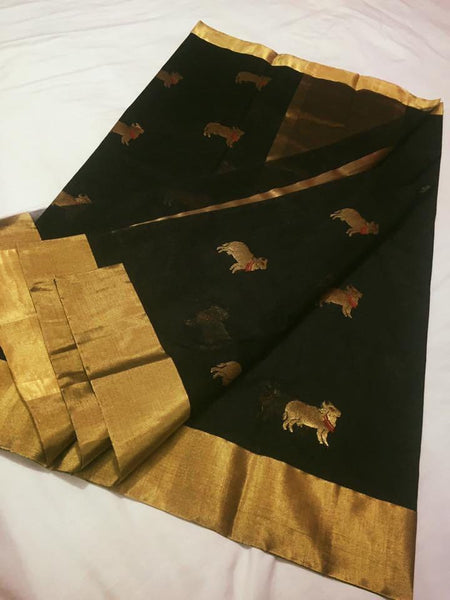 Black with Cow Designed Zari Border Chanderi Silk Saree-CHANSRE-090