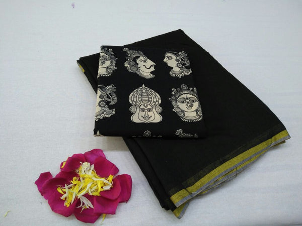 Black with Face Designed Blouse Fancy Cotton Saree-SRE-755