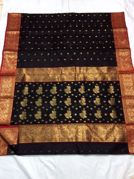 Black with Floral Designed Red Zari Border Chanderi Silk Saree-CHANSRE-087