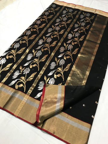 Black with Floral Designed Zari Border Chanderi Silk Saree-CHANSRE-022