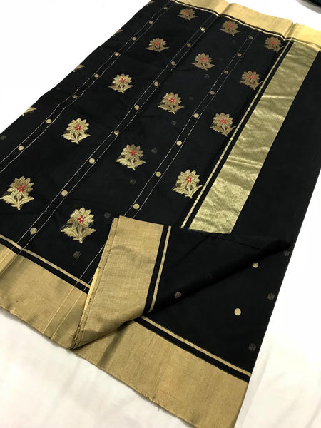 Black with Floral Designed Zari Border Chanderi Silk Saree-CHANSRE-025