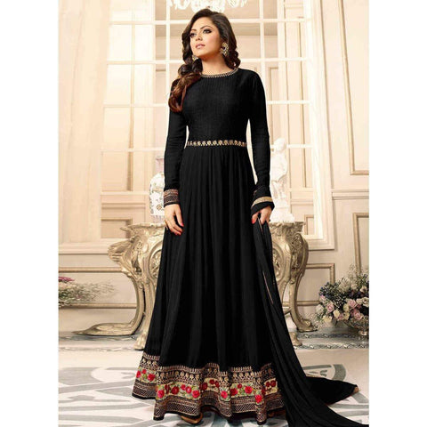 Black with Floral Embroidery Anarkali Suit-LKEDM-180