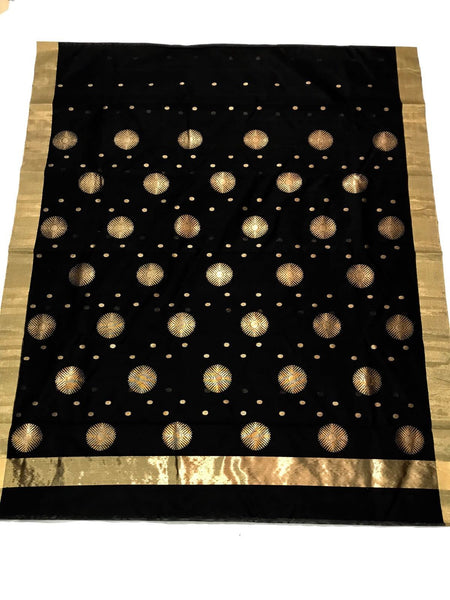 Black with Golden Dot Zari Border Chanderi Silk Saree-CHANSRE-008