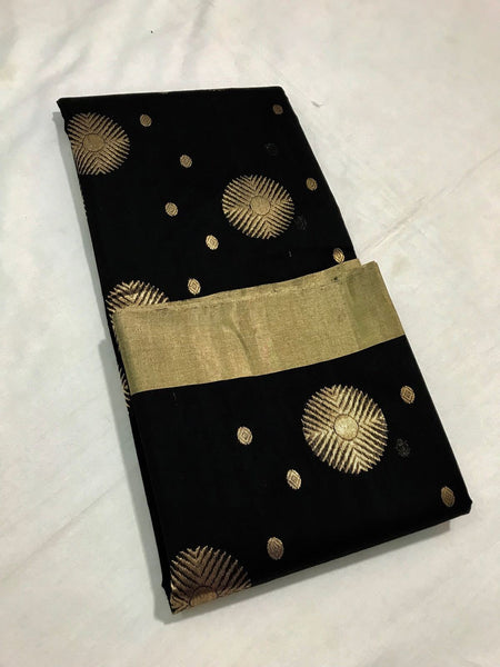 Black with Golden Dot Zari Border Chanderi Silk Saree