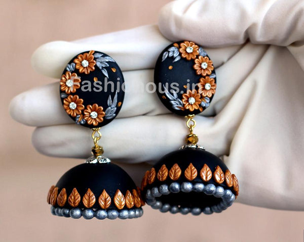 Black with Golden Floral Jhumka-ZAPCJH-017