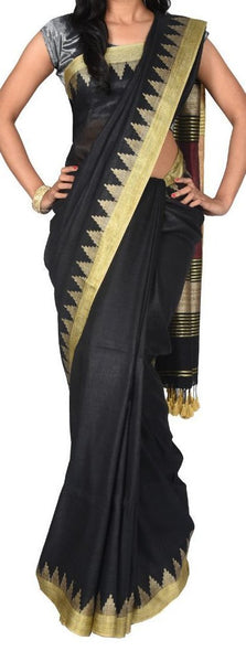 Black with Golden Gopuram Border Linen Saree-LNSRE-049