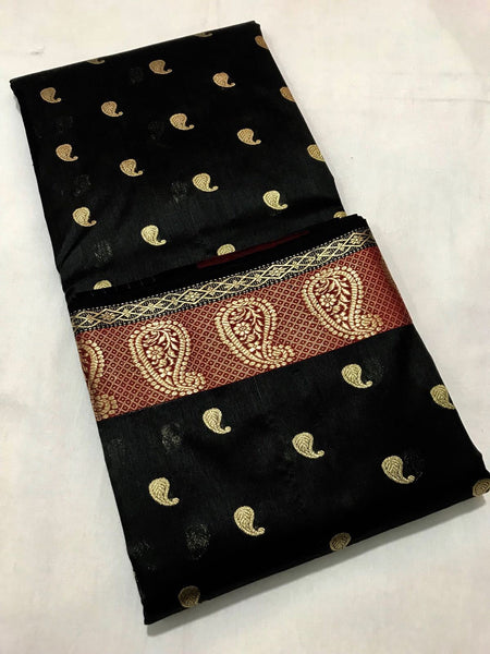 Black with Golden Mango Designed Zari Border Chanderi Silk Saree
