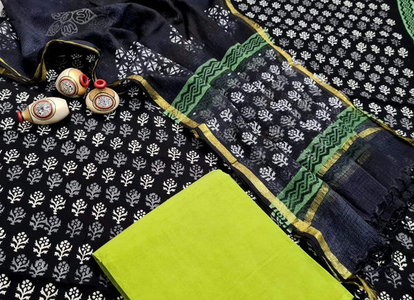 Black with Lime Green Handblock Unstitched Printed Cotton Suit