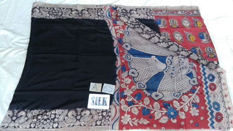 Black with Patil Pallu Silk Kalamkari Saree-KALAMKARI-0002