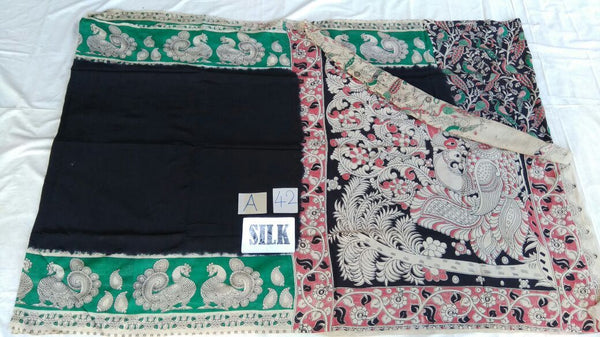 Black with Patil Pallu Silk Kalamkari Saree-KALAMKARI-0013