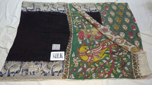 Black with Patil Pallu Silk Kalamkari Saree-KALAMKARI-0026