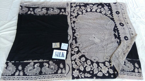 Black with Patil Pallu Silk Kalamkari Saree-KALAMKARI-0065