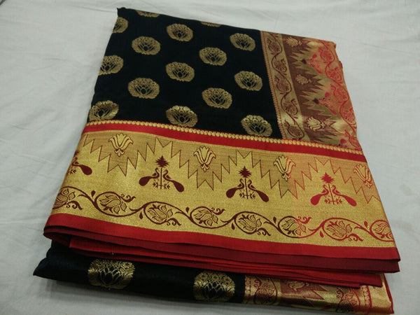 Black with Peacock Designed on Golden Zari Border Paithani Saree-PAITHANI-118