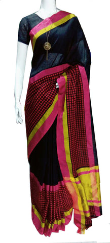 Black with Pink Checked Pallu Linen Saree