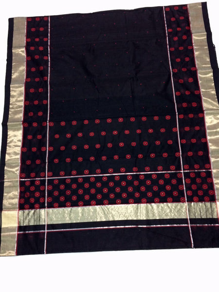 Black with Golden Hamsa Bird Designed Maroon Border Chanderi Silk Saree-CHANSRE-023