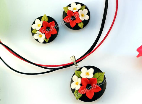 Black with Red and White Floral Necklace and  Earrings-ZAPCNS-033
