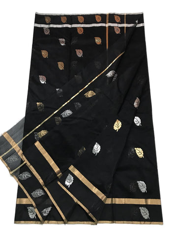 Black with Silver and Golden Leaf Designed Chanderi Silk Saree-CHANSRE-015