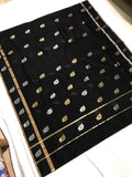 Black with Silver and Golden Leaf Designed Chanderi Silk Saree