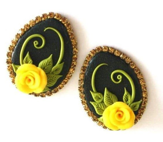 Black with Yellow Rose Polymer Clay Earrings