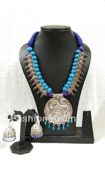 Blue And Purple Silk Thread Beads With Silver Oxidized Pendant And Earrings-OXDJSW-018