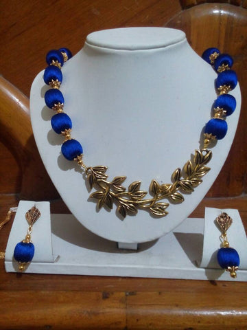 Blue Color with Leaf Silk Thread Jewellery Set