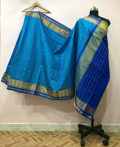 Blue Dotted with Golden Border Patola Silk Saree-PPSRE-008