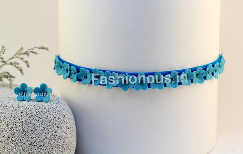 Blue Floral Choker and Studs-ZAPCNS-019
