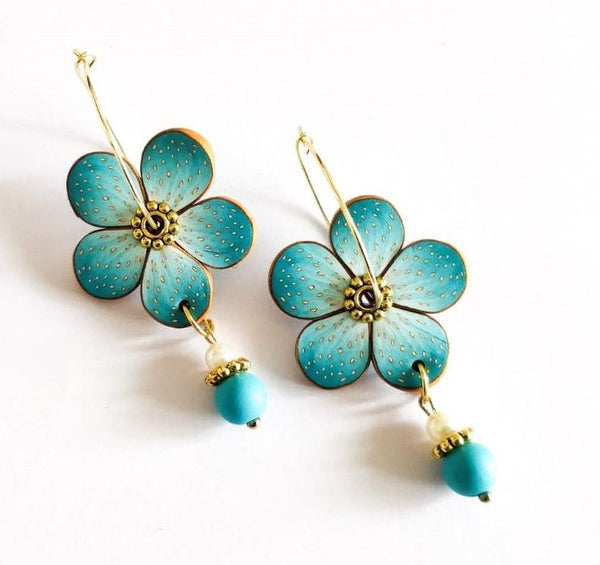 Blue Floral Polymer Clay Earring