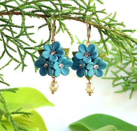Blue Floral Polymer Clay earrings