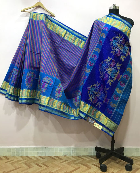 Blue Mango Designed with Golden Border Patola Silk Saree-PPSRE-006