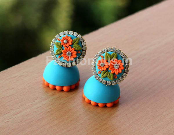 Blue Orange Floral Jhumka-ZAPCJH-031