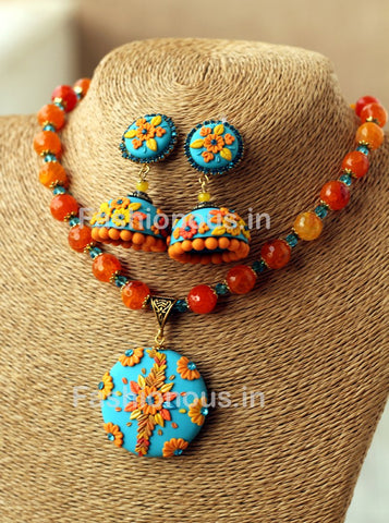 Blue Orange Floral Pendant with Semi Precious Beads and Jhumkas-ZAPCNS-051