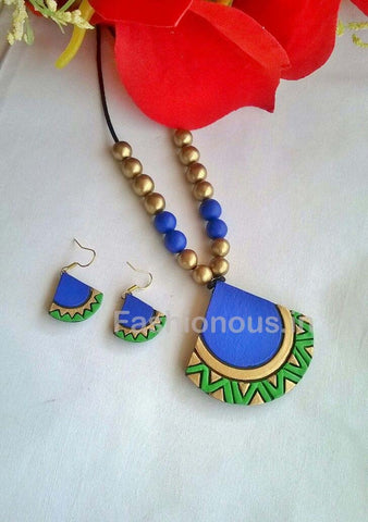 Blue Quarter Circle Shaped Terracotta Pendant Set-TJS-052