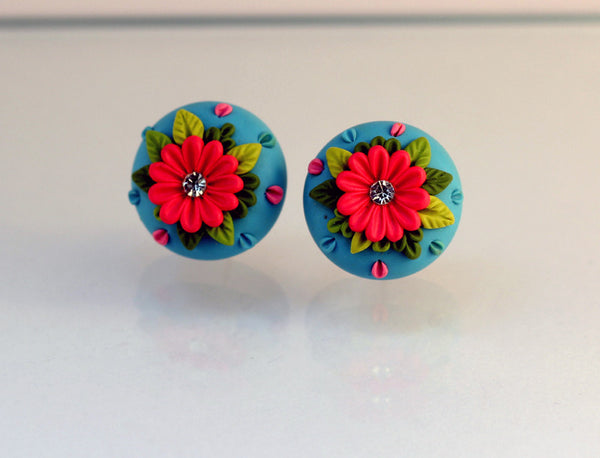 Blue Red Floral Embroidery Polymer Clay Stud