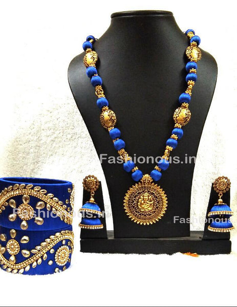 Blue Silk Balls With Ganesh Antique Pendant Silk Thread Jewellery Set-STJSW-006