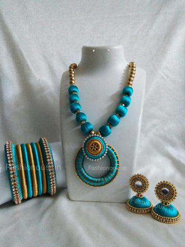 Blue Silk Thread Jewellery Set