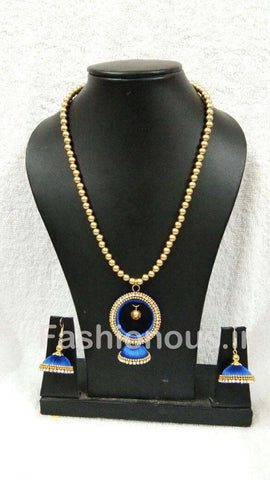 Blue Stone Worked Chandbali Pendant Silk Thread Jewellery Set-STJSW-092