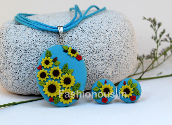 Blue Sunflower Embroidery Necklace and Earrings-ZAPCNS-008