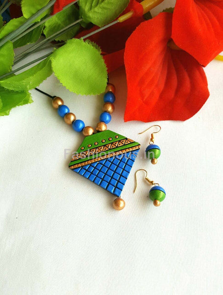 Blue Triangular Shaped Terracotta Pendant Set-TJS-030