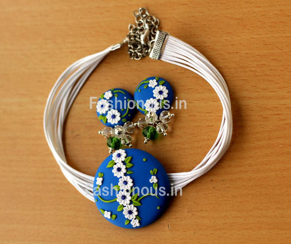 Blue White Floral Choker and Earrings-ZAPCNS-043