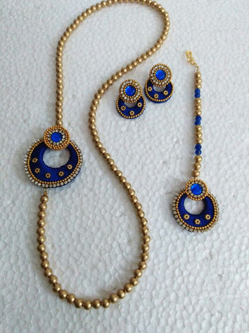 Blue and Golden Beads Silk Thread Jewellery Set