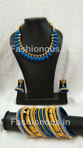 Blue and Golden Silk Thread Jewellery Set-STJSW-096