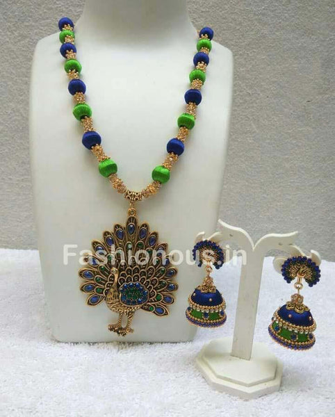 Blue and Green Silk Balls with Peacock Pendant Silk Thread Jewellery Set-STJS-034