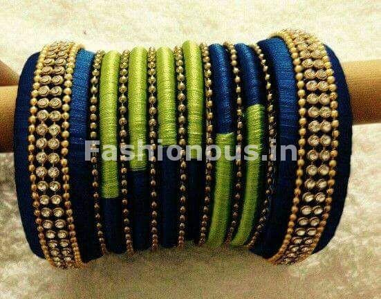Blue and Green Silk Thread Bangle Set-STBS-012