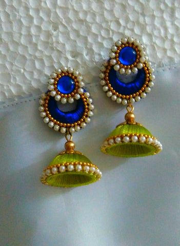 Blue and Green Silk thread Earrings