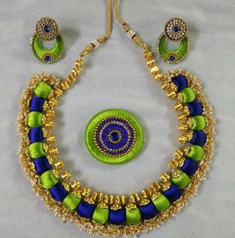 Blue and Light Green Color Silk Thread Jewellery Set